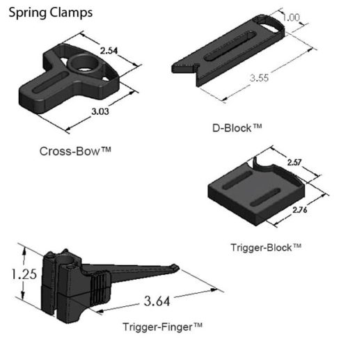 """SYS10_DK18TR01 CMM Fixture System (18"""" Dock, The Works) Spring Clamps"""