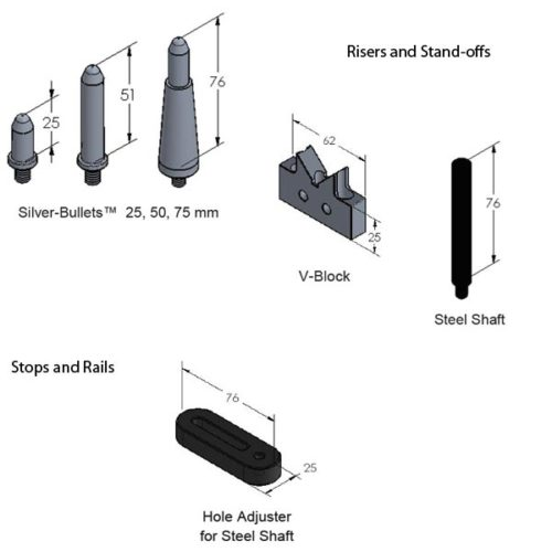 SYSM3_DK720TR03 CMM Fixture System (720mm Rail STARTER) Risers and Stops