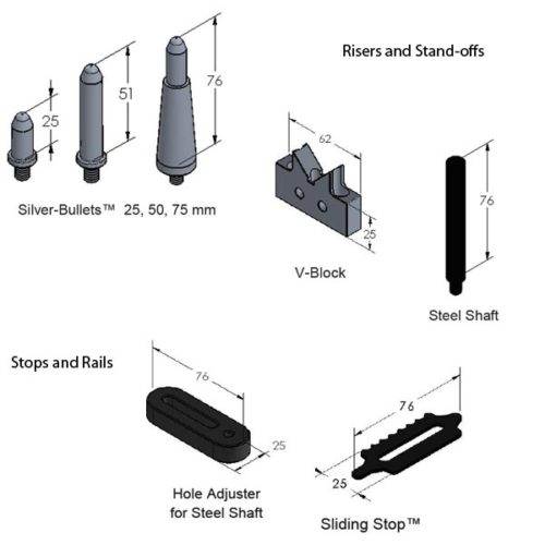 SYSM3_DK720TR01 CMM Fixture System (720mm WORKS) Risers and Stops