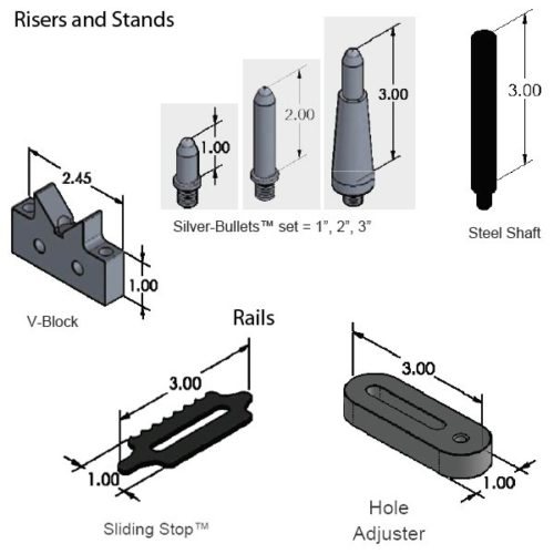 """SYS20_DK30TR01 CMM Fixture System (30"""" Dock, The Works) Risers and Stands"""