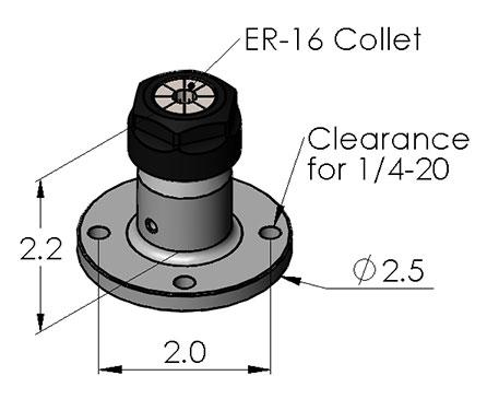 Inspection Arsenal CC-ER16 ER Collet Chuck (Flanged Bottom)