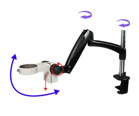 Ergoscope® Pneumatic Arm, Post Clamp Stand, 76mm Focus Rack