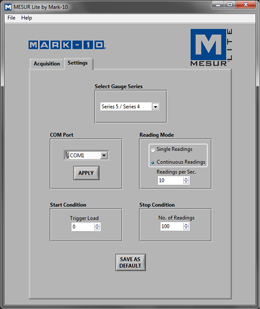MESUR-Lite-Settings-screen