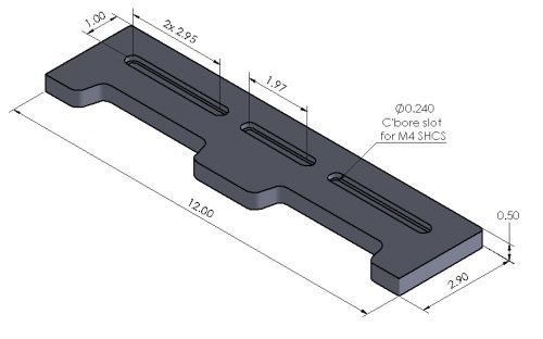 Inspection Arsenal OS-DOCK Open-Sight™ Docking Rails Dimensions